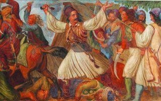 Σκηνές και μορφές της Ελευθερίας από τη Ζωφόρο: Ο Μάρκος Μπότσαρης επιτίθεται στο στρατόπεδο των Τούρκων στο Καρπενήσι.