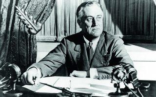 Μάρτιος 1933. Στο μέσον της Μεγάλης Υφεσης ο πρόεδρος Ρούσβελτ ανακοινώνει τα πρώτα μέτρα του Νιου Ντιλ. Φωτ. ASSOCIATED PRESS