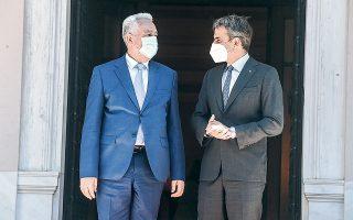 Ο Κυρ. Μητσοτάκης υποδέχθηκε χθες στο Μαξίμου τον πρωθυπουργό του Μαυροβουνίου, Ζ. Κριβοκάπιτς (φωτ. INTIME NEWS).