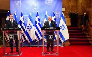 Το ελληνικό ενδιαφέρον για το σχέδιο Ισραήλ - Αιγύπτου ήταν από τους κύριους λόγους της επίσκεψης Μητσοτάκη την 8η Φεβρουαρίου στο Ισραήλ, όπου και συναντήθηκε με τον Μπέντζαμιν Νετανιάχου.  Φωτ. Menahem Kahana/Pool via AP