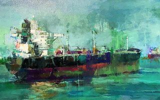 Εργο του Γιάννη Αδαμάκη από την ομαδική έκθεση ζωγραφικής και γλυπτικής «Θάλασσα όπως έρως» στην γκαλερί Καψιώτη. Διάρκεια έκθεσης: έως 19 Ιουνίου. Αλκιβιάδου 153 και Σωτήρος, Πειραιάς.