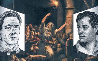 Ο πολύς, επίσης ορκισμένος φιλέλληνας, Αγγλος συνταγματάρχης Στάνχοπ για τον Ιωάννη-Ιάκωβο Μάγερ: «Ενας εξαίρετος Ελβετός που έχει τις καλές ιδιότητες των συμπατριωτών του και μαζί έχει εξοικειωθεί με τον ελληνικό χαρακτήρα». Ο Μάγερ (αριστερά), που ασπάστηκε την Ορθοδοξία και νυμφεύθηκε Ελληνίδα στη μαρτυρική πόλη, συνεργάστηκε για κοινό, καλό σκοπό με τον λόρδο Βύρωνα (δεξιά) στην έκδοση της βαρύτιμης ιστορικής εφημερίδας «Ελληνικά Χρονικά», παρά την ανυπόκριτη αμοιβαία αντιπάθειά τους. Σφαγιάσθηκε μαζί με τη σύζυγο και τις δύο κόρες τους στην «Εξοδο», από τους Τουρκοαιγυπτίους· ήταν 28 ετών. Στο κέντρο, ο πίνακας (λάδι σε μουσαμά) του Θεόδωρου Βρυζάκη «Η θυσία του Καψάλη», με κεντρικό πρόσωπο τον γηραιό Μεσολογγίτη, μορφή βιβλική, που αδυνατώντας να λάβει μέρος στην ηρωική έξοδο, συγκέντρωσε ανήμπορους, σκιές ανθρώπων, συντοπίτες του στην πυριτιδαποθήκη. Οταν οι Τούρκοι εισέβαλαν την ανατίναξε, λυτρώνοντας τους Ελληνες και οδηγώντας στον θάνατο εχθρούς.