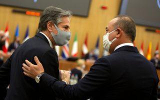 Ο Μπλίνκεν με τον Τούρκο ομόλογό του Μεβλού Τσαβούσογλου (φωτ. AP)