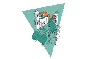 Οι εργασίες στο Εμπορικό Τρίγωνο επιτέλους ολοκληρώθηκαν κι ένα εκτεταμένο δίκτυο πεζοδρόμων στο κέντρο της πόλης σάς περιμένει. Σε πρώτο πλάνο, ο Ιερός Ναός της Χρυσοσπηλαιωτίσσης επί της Αιόλου. Eικονογράφηση: ΑΝΝΑ ΤΖΩΡΤΖΗ