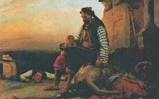 «Σύγχρονο ελληνικό θέμα εμπνευσμένο από τη σφαγή της Σαμοθράκης». Eλαιογραφία του Zαν-Mπατίστ Bενσόν (1789-1855), ο οποίος παρουσίασε τον πίνακά του στο παρισινό Σαλόνι του 1827 ως εξής: γέρος, καθισμένος στα ερείπια του καμένου σπιτιού του, δίπλα στο σώμα της κόρης του που σκοτώθηκε στη σφαγή της Σαμοθράκης (1821), κρατάει στα χέρια του το βρέφος που εκείνη θήλαζε. (Mουσείο Λούβρου, Παρίσι)