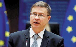 Τη δυνατότητα μετάβασης σε μια διαφορετική προσέγγιση σχετικά με το δημόσιο χρέος στην Ε.Ε. αφήνει ανοιχτή ο εκτελεστικός αντιπρόεδρος για θέματα Οικονομίας της Ευρωπαϊκής Επιτροπής, Βάλντις Ντομπρόβσκις. Φωτ. A.P.