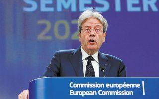 Ο επίτροπος Οικονομίας της Ε.Ε. Πάολο Τζεντιλόνι τόνισε ότι η δημοσιονομική πολιτική των κρατών-μελών «πρέπει να παραμείνει υποστηρικτική» το 2021 και το 2022. Οταν ο υγειονομικός κίνδυνος περιοριστεί, πρόσθεσε, θα πρέπει να γίνει σταδιακά η στροφή προς «πιο στοχευμένα μέτρα, που θα διευκολύνουν τους εργαζομένους και τις επιχειρήσεις στη μετάβαση προς  τη μετα-πανδημική εποχή» (φωτ. REUTERS).