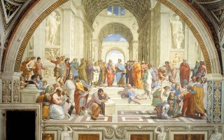 Η Σχολή των Αθηνών του Ραφαήλ. Μια καταγραφή των ενόχων που ευθύνονται για την υπεροχή του δυτικού πολιτισμού.