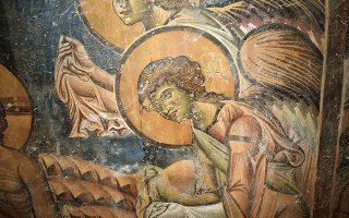 Λεπτομέρειες από τον ζωγραφικό διάκοσμο του Αγίου Γεωργίου στο Κουρμπίνοβο της Βόρειας Μακεδονίας (φωτ. ΕΚΒΜΜ).