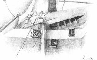 Εργο της Ελένης Καράκου (φωτ.), όπου μαζί με τον Νίκο Γιαμπάνη χρησιμοποιούν το σχέδιο για να απεικονίσουν την ένταση της μάχης, την αγωνία της καταδίωξης, τη θλίψη του αποχωρισμού.