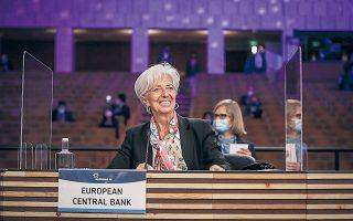 Η οικονομία της Ευρωζώνης «βρίσκεται σε μια φάση αλλαγής πορείας και οδεύει προς την ανάκαμψη και την επιστροφή στα προ πανδημίας επίπεδα», σύμφωνα με την κ. Λαγκάρντ.