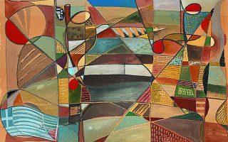 Τάκης Μάρθας, «Aγρότισσες με παραδοσιακές ενδυμασίες από την Κέα». Μεικτή τεχνική, 53 x 78 cm. Από την ομαδική έκθεση «Ελληνική σημαία», γκαλερί Ερση, Κλεομένους 4, Κολωνάκι. Διάρκεια: έως 17 Ιουλίου.