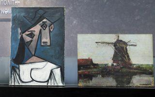 Το περίφημο «Γυναικείο κεφάλι» (αριστερά) του Πάμπλο Πικάσο και ο πίνακας του 1905 ο «Ανεμόμυλος Στάμμερ» του Πιετ Μοντριάν. (Φωτ. INTIME NEWS)