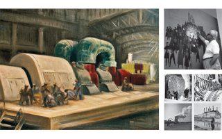 Φωτ. Από αριστερά: Αλέξανδρος Κορογιαννάκης, «Εσωτερικό του ατμοηλεκτρικού σταθμού Αγίου Γεωργίου στο Κερατσίνι» (Συλλογή έργων τέχνης ΔΕΗ). Ο Σπύρος Βασιλείου ζωγραφίζει στο περίπτερο της ΔΕΗ το 1965 (Ιστορικό αρχείο ΔΕΗ). Ασπρόμαυρες φωτογραφίες από το πρωτότυπο αρχειακό υλικό της εταιρείας.