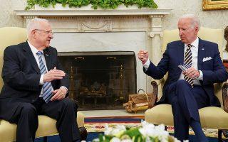 Φωτ: REUTERS/Kevin Lamarque - Ο Αμερικανός πρόεδρος διαβεβαίωσε τον Ρίβλιν ότι η δέσμευση της κυβέρνησής του στην ασφάλεια του εβραϊκού κράτους είναι «ατσάλινη»