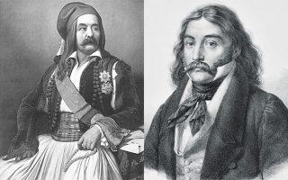 Αριστερά ο Ιωάννης Κωλέττης, δεξιά ο Αλέξανδρος Μαυροκορδάτος.