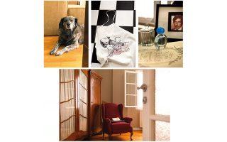 Από αριστερά και δεξιόστροφα: Η Μελίνα στην υποδοχή, ποδιά μαγειρικής με τύπωμα έργου του Στέφανου Ρόκου, κορνίζα με τον Leonard Kohen στο υπνοδωμάτιο, ντουλάπα και πολυθρόνα-αντίκες. (Φωτογραφίες: ΑΛΙΝΑ ΛΕΦΑ)