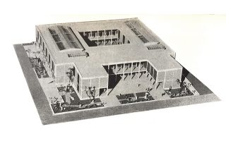 Η πρόταση του Αρη Κωνσταντινίδη για την Εθνική Πινακοθήκη στον διαγωνισμό του 1956 (γ΄ βραβείο εξ ημισείας).