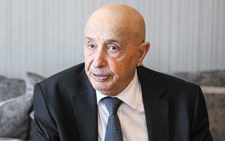«Εχουμε διασφαλίσει τη συνταγματική βάση για τη διεξαγωγή των εκλογών στην προαναγγελθείσα ημερομηνία της 24ης Δεκεμβρίου», τονίζει ο Ακίλα Σάλεχ. (Φωτ. ΝΙΚΟΣ ΚΟΚΚΑΛΙΑΣ)