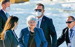 Οι υπουργοί Οικονομικών κατά τη διάρκεια της συνόδου αναμένεται να ζητήσουν διαβεβαιώσεις από την Αμερικανίδα υπουργό Οικονομικών Τζάνετ Γέλεν πως η κυβέρνηση Μπάιντεν θα καταφέρει να εξασφαλίσει την απαιτούμενη έγκριση του αμερικανικού Κογκρέσου (φωτ. EPA).