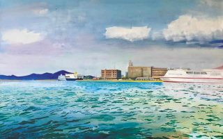 «Πειραιάς, λάδι σε καμβά», έργο του Αντώνη Στάβερη. Από την ομαδική έκθεση «Floating in the blue», 9 Ιουλίου έως 10 Σεπτεμβρίου στην Γκαλερί Σκουφά, Σκουφά 4, Κολωνάκι.