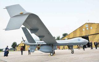 To αμερικανικής κατασκευής προηγμένο και ιδιαίτερα ισχυρό μη επανδρωμένο εναέριο όχημα MQ-9 Guardian στην 110 Πτέρυγα Μάχης στη Λάρισα. (Φωτ. ΑΠΕ-ΜΠΕ / ΑΠΟΣΤΟΛΗΣ ΝΤΟΜΑΛΗΣ)