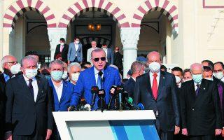 Κατά την επίσκεψή του στα Κατεχόμενα, ο Ερντογάν ισχυρίστηκε πως στόχος της Αγκυρας είναι να επιστραφούν οι περιουσίες που αφορούν το 3,5% των Βαρωσίων στους ιδιοκτήτες τους. Ωστόσο οι αναλυτές δεν ενστερνίζονται τις «αγαθές» προθέσεις του Τούρκου προέδρου. Φωτ.Turkish Presidency via AP