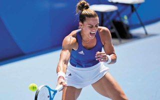 Η Μαρία Σάκκαρη, μετά τη νίκη της με 2-0 επί της Νίνα Στογιάνοβιτς, προκρίθηκε στον 3ο γύρο του απλού στο τένις. (Φωτ. A.P. Photo)