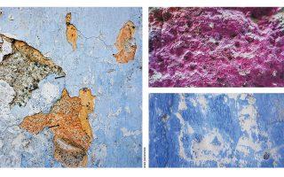 Χρωματικά ίχνη σε παλιά σπίτια ως μια εμπειρία καθολική και αναπόδραστη. Από αριστερά: Αγιά, Λάρισα, Αίγινα. Αυτοσχέδια και εφήμερη τέχνη.