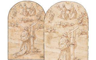 Αντιφάσεις και ερωτήματα προκαλεί ο χειρισμός της υπόθεσης για το έργο του Μονκάλβο που αποσύρθηκε τελικά από τη δημοπρασία (αριστερά) της Φλωρεντίας. Δεξιά, το έργο που εκλάπη από την Πινακοθήκη.