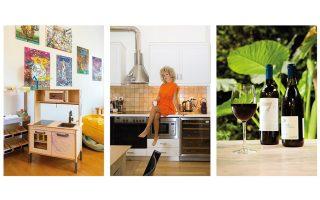 Η κουζίνα των παιδιών στο playroom. Στην κουζίνα της καθημερινής χρήσης. Από τον συντηρητή κρασιών του σπιτιού δεν λείπουν ποτέ ένα καλό Ασύρτικο και ένα καλό Ξινόμαυρο. (Φωτογραφίες: ΑΛΙΝΑ ΛΕΦΑ)