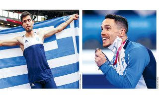 Μίλτος Τεντόγλου, Λευτέρης Πετρούνιας. Δύο Ελληνες πρωταθλητές, δύο κορυφαίοι στο είδος τους. Ο πρώτος «πέταξε» στα 8,41 μ. και κατέκτησε το χρυσό μετάλλιο στο άλμα εις μήκος και ο δεύτερος εκτέλεσε για μία ακόμη φορά άριστα το πρόγραμμά του στους κρίκους, ωστόσο ένα βηματάκι στην έξοδο τον άφησε με το χάλκινο μετάλλιο στους Ολυμπιακούς Αγώνες του Τόκιο (φωτ. Reuters).