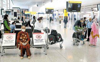 Το Χίθροου του Λονδίνου πέρυσι τον Μάιο – αντίστοιχη εικόνα παρουσίαζαν όλα τα αεροδρόμια του κόσμου. Η επιβατική κίνηση κατακρημνίστηκε, ενώ τα υγειονομικά μέτρα ασφαλείας αυστηροποιούνταν διαρκώς. (Φωτ. EPA / NEIL HALL)