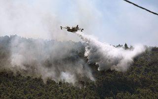 Χθες το μεσημέρι στα Βίλια και στο όρος Πατέρας επιχειρούσαν πτητικά μέσα, χωρίς να είναι πάντα σε θέση να ελέγξουν την πυρκαγιά (φωτ. INTIME NEWS).