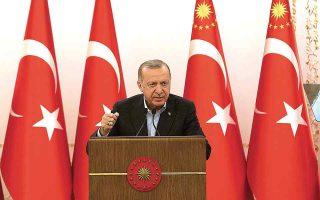 «Eίμαστε ικανοποιημένοι από τις μετριοπαθείς δηλώσεις που έχουν κάνει οι Ταλιμπάν», τόνισε μεταξύ άλλων ο κ. Ερντογάν. (Φωτ. Turkish Presidency via A.P.)