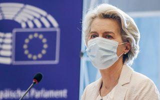 Αύριο η πρόεδρος της Κομισιόν θα μιλήσει στο Ευρωκοινοβούλιο για την «Κατάσταση της Ενωσης» – μια σύνοψη της χρονιάς που πέρασε και μια απαρίθμηση των προσδοκιών για το δωδεκάμηνο που έρχεται (φωτ. EPA/OLIVIER HOSLET).