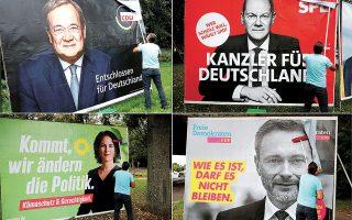 Ο Ολαφ Σολτς (πάνω δεξιά) βρίσκεται δημοσκοπικά στο 25%, ενώ κερδίζει έδαφος –22%– ο Αρμιν Λάσετ (πάνω αριστερά). Αναλένα Μπέρμποκ και Κρίστιαν Λίντνερ διατηρούν τα ποσοστά τους – 17% και 11% αντιστοίχως (φωτ. REUTERS / Wolfgang Rattay).