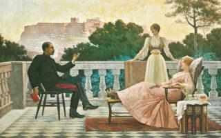 «Στην ταράτσα» του Ι. Ρίζου, το κεντρικό έργο της έκθεσης.