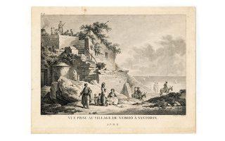 Xαλκογραφία του 1782 από το μνημειώδες έργο του Choissel-Gouffier. Αποτυπώνονται σημαντικά στοιχεία αρχιτεκτονικής, τοπογραφίας (με τους πρόποδες του Προφήτη Ηλία και τη θάλασσα στο βάθος), καθώς επίσης και ενδυματολογικά στοιχεία.