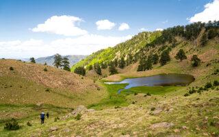 Κάτω από την κορυφή Φλέγγα θα συναντήσετε τις δύο ομώνυμες λίμνες. Μετά από λίγο θα αφήσετε το αλπικό τοπίο για να μπείτε στην πυκνή βλάστηση της Βάλια Κάλντα. (Φωτογραφίες: Νικόλας Μάστορας)