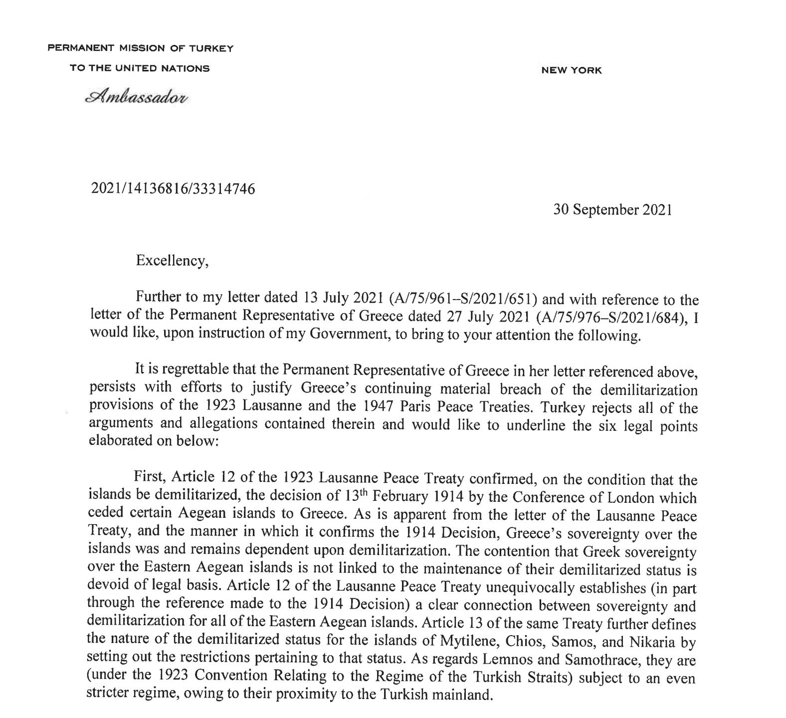 «Η Ελλάδα δεν έχει δικαιώματα στα νησιά» – Η «Κ» αποκαλύπτει την επιστολή της Τουρκίας στον ΟΗΕ, φωτογραφία-1