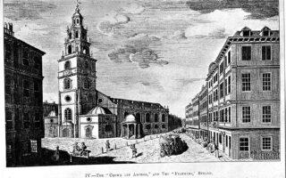 Η παμπ «Crown and Anchor» (διακρίνεται αριστερά), στο Στραντ του Λονδίνου, ήταν σημείο συνάντησης φιλελευθέρων και ριζοσπαστών στις αρχές του 19ου αιώνα. Εκεί ιδρύθηκε το φιλελληνικό κομιτάτο, τον Μάρτιο του 1823.