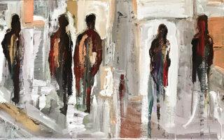 Ενα από τα έργα που θα παρουσιάσει η ζωγράφος Αλεξία Κουδιγκέλη (δεξιά) στην έκθεσή της στην γκαλερί Αγκάθι-Κartάλος.