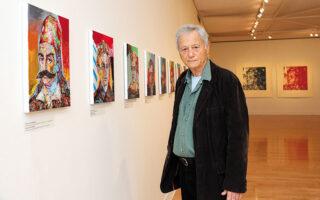Ο ζωγράφος Γιάννης Ψυχοπαίδης στην ατομική του έκθεση «Μορφές του '21», η οποία φιλοξενείται στο Μουσείο Μπενάκη και περιλαμβάνει έργα ζωγραφικής, χαρακτικής και σχέδια (φωτ. Νίκος Κοκκαλιάς).